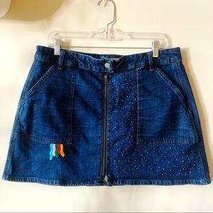 Madewell denim mini skirt with embroidery